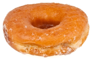 A classic glazed, yeasted donut...which overrides the cake.